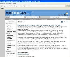 Notícia al CanalSolidari sobre el Memorial 2007